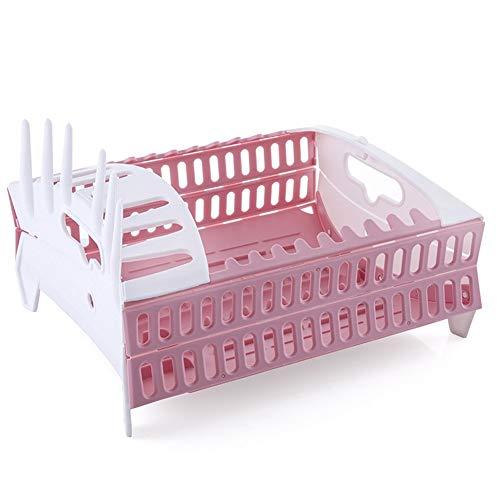 Foldable Tableware Basket Kitchen Shelf Holder Dish Dish Dish Cup Dry Shelf House Dish Rack Green x (Color : Pink)