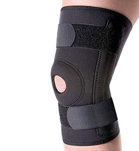 QM Hinged Knee Brace (1 Pic' s) - Functional Knee Support for Patella Support, Sprains, Hypertension , Neoprene Knee Support, Arthritis, Joint Pain Relief, Injury Recovery, Running, Workout, Basketball, Sports, Gym, Hiking, Black Colour (Large)