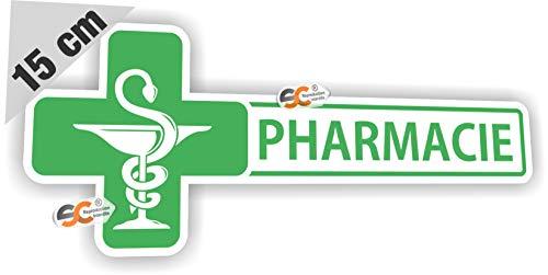 Sticker Pharmacie + Croix Caducée - Autocollant Croix Premier Secours Boite Trousse Urgence Médicament (Largeur 15 cm/Hauteur 6 cm)