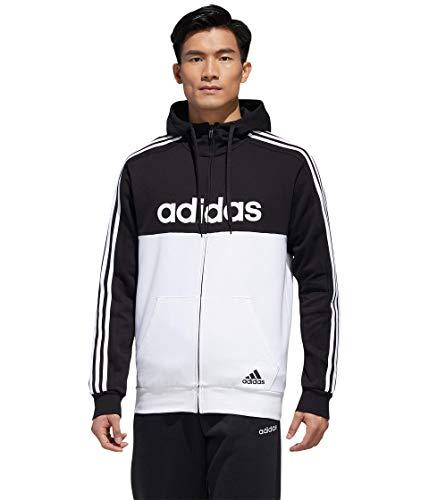 adidas Essentials Chaqueta de chándal con capucha para hombre, color negro/blanco, talla pequeña