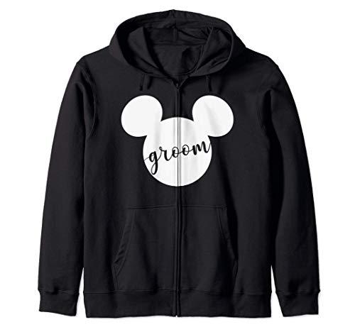 Disney Mickey Mouse Head Silhouette Groom Cursive Text Sudadera con Capucha