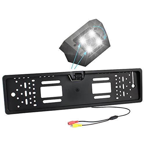 LAYDRAN Universal European License 150 ° Angle de Visualisation de la Plaque Caméra de recul, étanche à l'eau Recul de stationnement Caméra 4 Lampes LED avec Perfect Vision de Nuit