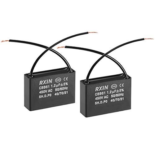 sourcing map Condensador De Funcionamiento CBB61 1.2Uf 450V AC 2 Cable De Película De Polipropileno Metalizado Condensadores para Ventilador De Techo 2Pcs