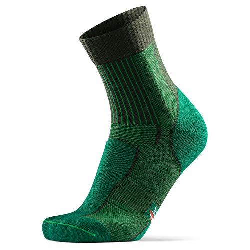 DANISH ENDURANCE Calcetines Ligeros de Senderismo y Trekking de Lana Merino 1 par (Verde Oscuro, EU 39-42)