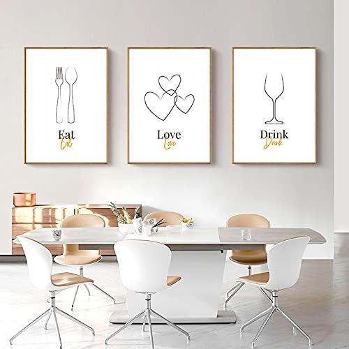 Línea de utensilios de cocina abstracta minimalista Pintura en lienzo Carteles Impresiones Copa de vino Cuchillo y tenedor Arte Cocina Decoración de la habitación 50x75cm-3Pcs Sin marco