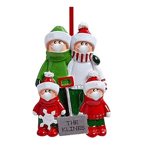 Yatter Adornos de árbol de Navidad, Familia Personalizada con Perro, Madre, Padre, niño, Gorro de Papá Noel, Pijama, Guirnalda, adornar Juntos, Acogedor, Festivo, Regalo, año