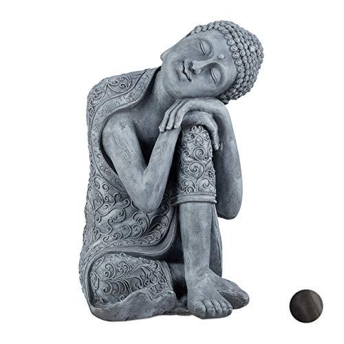 Relaxdays Statua del Buddha con Testa Piegata, XL 60cm, da Giardino, Decorativa, in Ceramica, Impermeabile, Grigio, Grau, 60, 00 x 35,00cm
