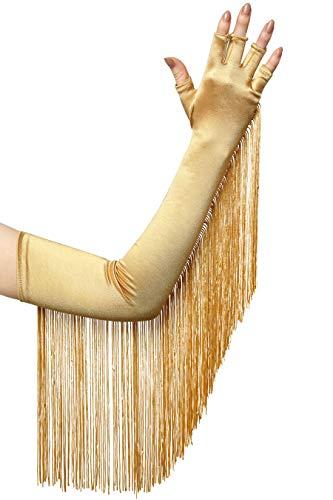 BABEYOND Damen 1920s Handschuhe mit Fransen Troddel Dramatische Classic Opera Fest Party Audrey Hepburn Lang Handschuhe Damen Fasching Kostüm Accessoires (Gold)
