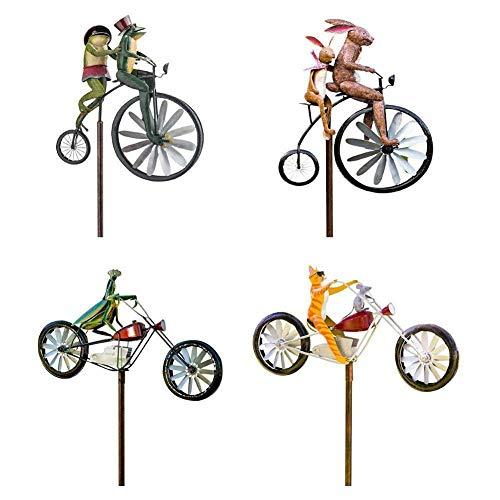 Abbcoert Viento Spinner Animal Riding Bike con adorno de motocicleta jardín decoración encanto