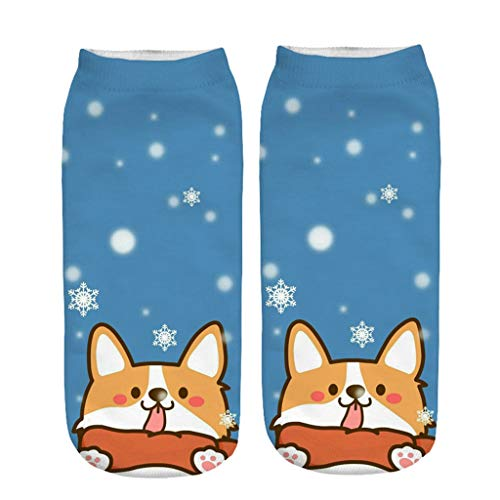 Christmas Cute Socks For Women,For Women Ankle,Novelty Animal Cotton Low Cut,Stylish & Funky Fun Colors (H)