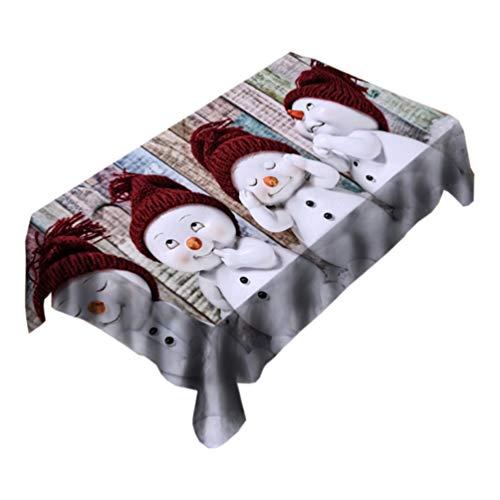 UPKOCH Weihnachten Tischdecken Schneemann Tischwäsche Wachstuch Tischtuch Weihnachtstischdecke Wachstischdecke Tischdeko Weihnachtsdeko Xmas Party Deko