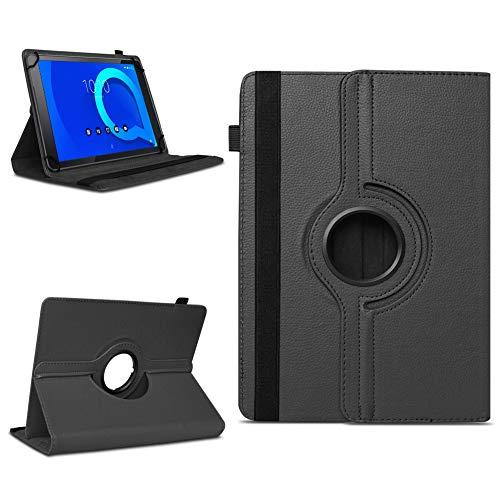 NAUC Alcatel 1T 10 Tablet Tasche Schutzhülle hochwertiges Kunstleder Hülle Standfunktion 360° Drehbar Cover Universal Schutz Hülle, Farben:Schwarz