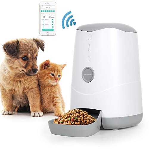 MAYER'S BEST Smart Feed Automatic Cat Dog Feeder, Wi-Fi Enabled Pet Feeder Smartphone App for iPhone and Android Compatible with Alexa, WiFi 2.4GHz only.