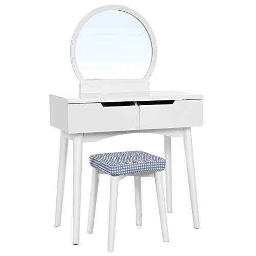 VASAGLE Vanity Table Set with Round Mirror 2 Large Drawers with Sliding Rails Makeup Dressing Table with Cushioned Stool, White URDT11W