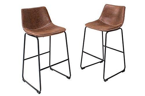 DuNord Design Barhocker Barstuhl braun Vintage 2er Set Hocker Sitzhocker Barmöbel Eisengestell