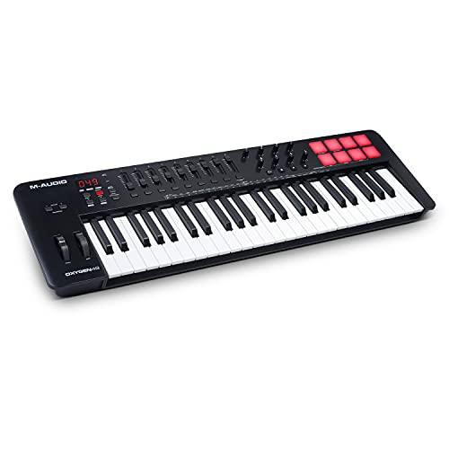 M-Audio Oxygen 49 V – 49-Tasten USB MIDI Keyboard Controller mit Beat Pads, Smart Chord & Scale Modi, Arpeggiator und Softwarepaket inklusive