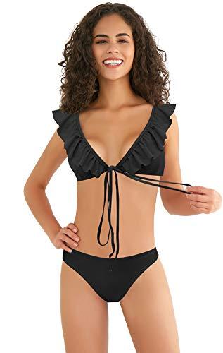 SHEKINI Dames Bikiniset Met Ruches Badmode Badpakken Met Print En Bandjes Tweedelige Badpakken Badmode
