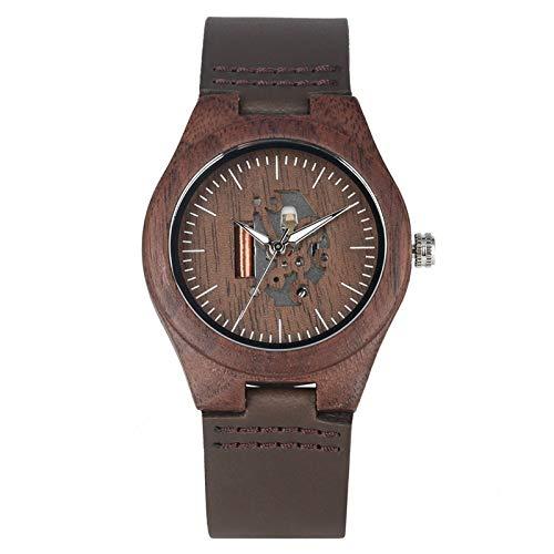 IOMLOP Reloj de Madera Top Lovers Relojes de Madera de Nogal Rayas Retro Esqueleto de Hombre Reloj de Esfera Hueca Reloj de Cuero Creativo Reloj de Madera Regalos para Hombres, Mujeres, para Mujeres