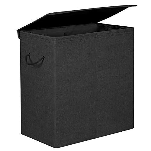 SONGMICS Wäschekorb 142 L, Wäschesammler aus Leinenimitat, Wäschesortierer, Wäschetruhe mit getrennten Fächern, magnetischem Deckel und Griffen, faltbar, Wäschesack herausnehmbar, Schwarz LCB02BK