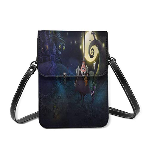 XCNGG Kleine Geldbörse Nightmare-Before-Christmas Lightweight Leather Phone Purse, Women Multicolor Handbag Small Crossbody Bag Mini Cell Phone Pouch Shoulder Bag.with Adjustable Strap