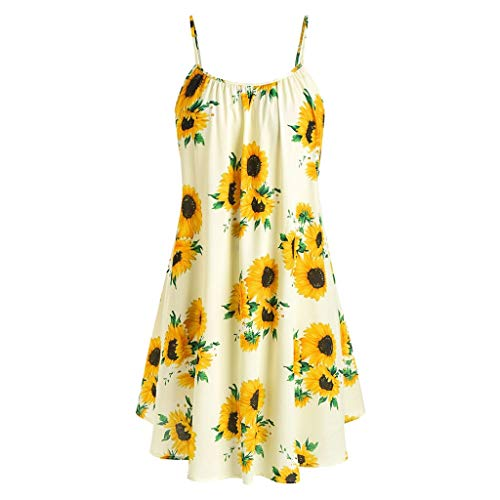 Kulywon Fashion Women Short Sleeve Bow Knot Bandage Top Sunflower Print Mini Dress Suits Black