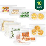 COAWG Bolsas de Almacenamiento para Alimentos Reutilizables, (6 Bolsas de Sándwich + 4 Bolsas de Refrigerios)Sello Congelador Transparente Bolsas de...