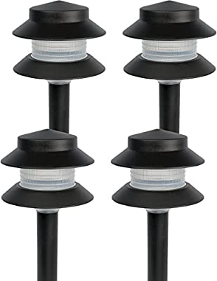 "Paradise Garden Lighting GL22627 Outdoor Landscaping Path Light, Black Plastic 2-Tier Post Light, Ribbed Plastic Lens, Low Voltage 4W Incandescent T5 Wedge Bulb, 20 Lumens, 5.2""x5.2""x8.66"""