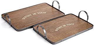 Bistro Trays with Metal Handle, Set of 2