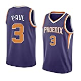 PFXXFP Mens T-Shirt Basketball Uniform, Phoenix Suns Paul #3, Black Training Sportswear, Mens and Womens Fan Vests, Breathable, Quick-Drying and Loose