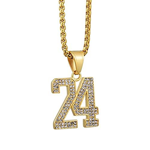 SWAOOS Hip Hop Iced out Letter 24 Collar con Colgante de Baloncesto para Mujeres Hombres Cadenas de Acero Inoxidable de Color Dorado Hiphop American Jewelry 50cm