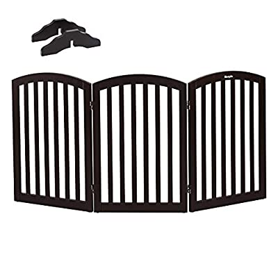 Bonnlo Wooden Freestanding Tall Pet Gate with Foot Supporter
