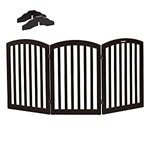 """Bonnlo Free Standing 30"""" Tall Dog Gates for Doorways Indoor Stairs Wooden 3 Panel Pet Gate 