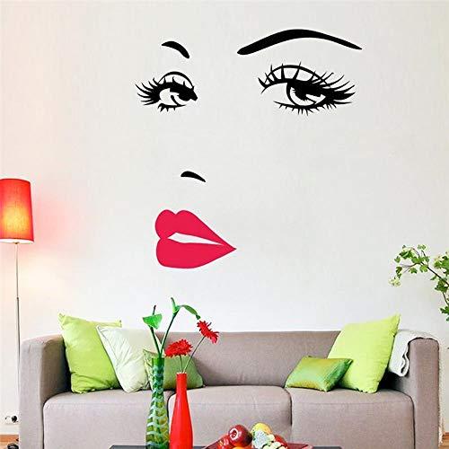 Adhesivo pared mujer, sensual, de labios y ojos, pegatina para decoración de pared decoro, para centros de estética