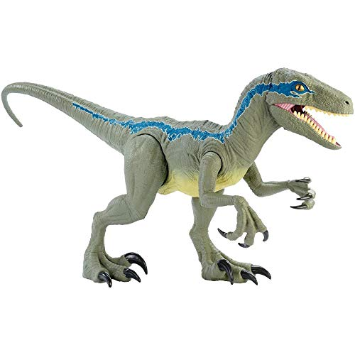 Mattel GCT93 Jurassic World Riesendino Velociraptor Blue mit beweglichen Armen und Beinen