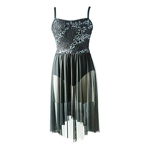 NewDance Women's Lyrical Dress Sequin Lace Mesh High Low Skirt Contemporary Ballet Ballroom Dance Costume NT16004,Black,XLA