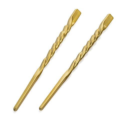 Paire d'or Twist Motif Épingle à cheveux chignon Outil de baguettes 18 cm (18 cm)