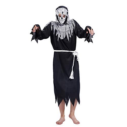 GBYAY Disfraz de Halloween Disfraces del Festival Fantasma Ropa Fantasma Terror Ángel de la Muerte Adulto Negro Suelto 2019