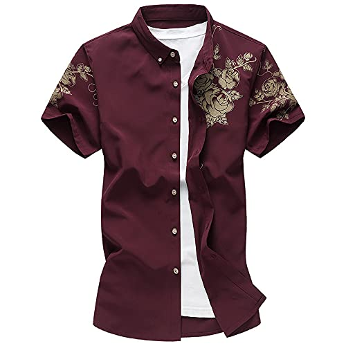Camisa Hombre Moderna Tendencia Moda Estilo Chino Impresión Hombre Shirt Verano Básico Slim Fit Stretch...