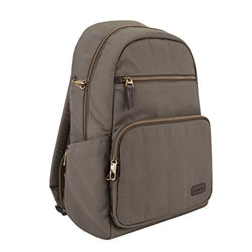 Travelon Anti-Theft Courier Slim Backpack, Stone Gray, One Size