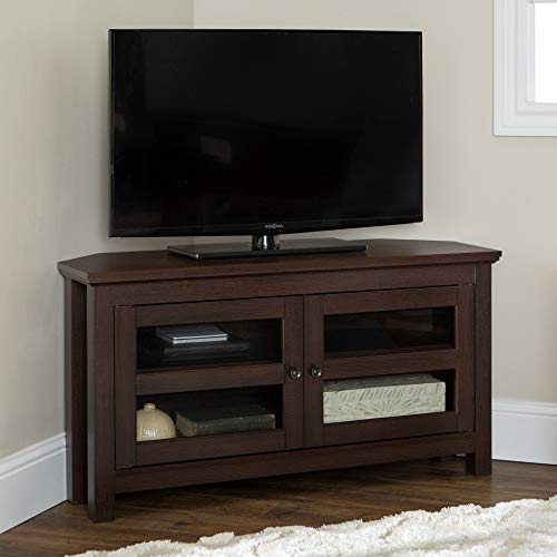 """Walker Edison Furniture AZQ44CCRES Modern Farmhouse Wood Corner Universal Stand for TV's up to 48"""" Flat Screen Living Room Storage Entertainment Center, 44 Inch, Espresso"""
