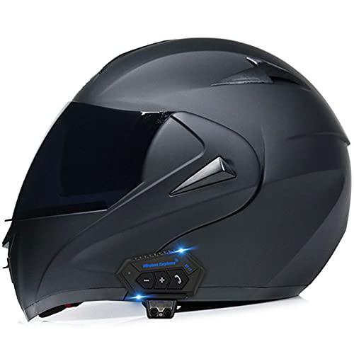 Casco De Moto Modular Bluetooth Integrado, Casco Moto Abatible Doble Visera Casco Integral ECE Homologado Para Mujer Y Hombre, Con Función De Respuesta Automática, Host Impermeable Matt Black 4,XL