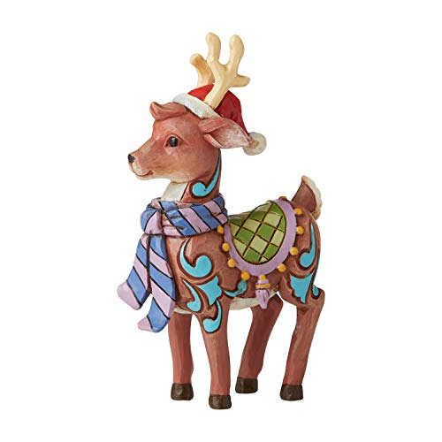 Enesco Jim Shore Heartwood Creek Reindeer with Hat Mini Figurine