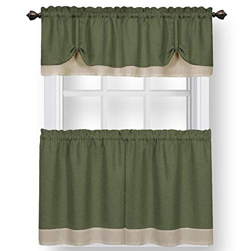 """Woven Trends Two-Tone Window Curtain Tier Pair & Valance Set, Double Layer Small Window Curtains for Kitchen, Living Room and Kitchen, Green/Beige, 58"""" x 24"""" Tier Pair & Valance Set"""