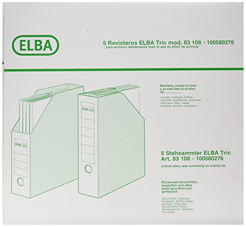 Elba 100580276 - Pack de 5 revisteros de cartón doble microcanal