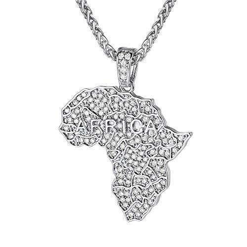 YOUHU Collar Mujer Mapa,África Mapa Forma Colgante De Metal Diamante Plata Encantos De Moda Mapa del País Africano Gargantilla Cadena Mujeres Hombres Unisex Joyería De Moda Especial Regalo