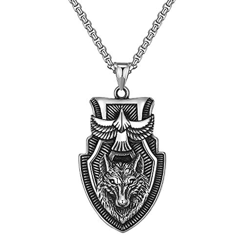 BBYOUTH Vikings Collier Odin Runes Pendentif Rétro 316L Acier Inoxydable avec Chaîne de 24 Pouces & Valknut Bijoux Sac Cadeau,Fenrir krähe könig