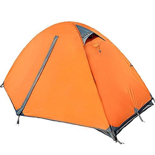 Miao Camping double porte double couche coupe-vent pluie tentes, Orange