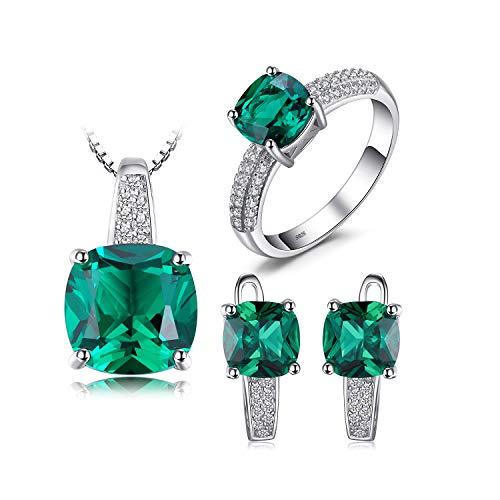 Anillo de Esmeralda Colgante Pendientes de aro Conjuntos de joyería de Boda 925 Joyería de Plata Piedra Preciosa Joyería Fina