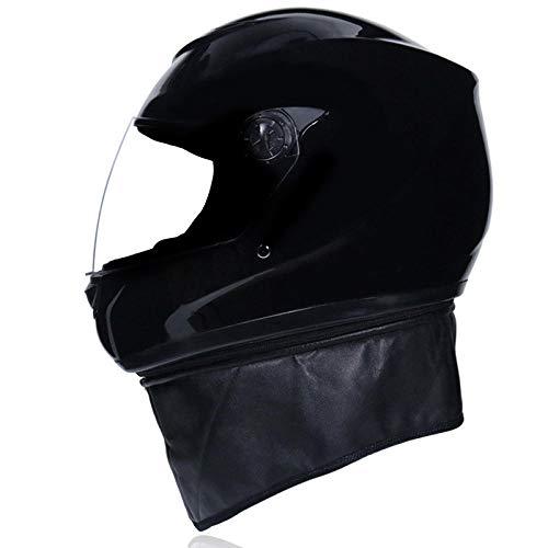 Elektrische motorhelm off-road helm integraalhelm koude wind warme helm-Helder zwart (transparante spiegel) Licht, comfortabel en veilig helmet_One size