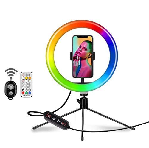 MZBZYU Aro De Luz 10' con Tripode, 360º Soporte Ajustable Ring Light, Anillo De Luz Control Remoto Inalámbrico, Aro De Luz para Móvil TIK Tok Maquillaje Selfies
